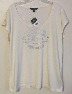 Ralph Lauren NEW Top Scoop Neck Ivory Silver Graphic Tee Stretch XL X-Large #LaurenRalphLauren #Blouse #Casual