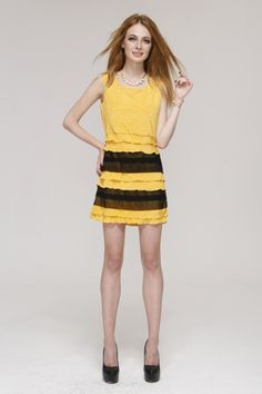 Yellow black Contrast Color Square Neck Slim Princess dress