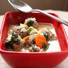 Week one lunch or dinner - Living Low Carb.One Day at a Time: Italian Wedding Soup (Low Carb and Gluten Free) Paleo Recipes, Low Carb Recipes, Whole Food Recipes, Soup Recipes, Cooking Recipes, Yummy Recipes, Detox Recipes, Wedding Soup, Paleo Soup