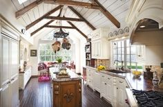 Kitchen cathedral ceiling beams