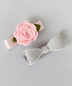 Pink Flower & Gray Bow Hair Clip Set