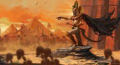 Fanart of Settra the Imperishable from Warhammer Tomb Kings Warhammer Fantasy, Warhammer Tomb Kings, Warhammer Art, High Fantasy, Fantasy Rpg, Fantasy Artwork, Beast Creature, King Art, Fantasy Kunst