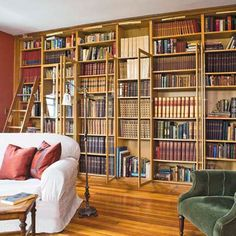 Beautiful Bookshelves: IKEA Done Right — This Old House Used Billy bookcases with added molding and glass-fronted doors.  No real additional detail about this room in This Old House story, but interesting to see some of the before and afters. I wouldn't have had the guts to take on the poor ex-frat house.