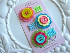 Itty Bitty Felt Flower Snap Clip Trio In Blue Summer Waves For Infant Toddler and Children. $7.50, via Etsy.