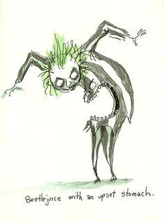 the art of Tim Burton - Beetlejuice with an Upset Stomach