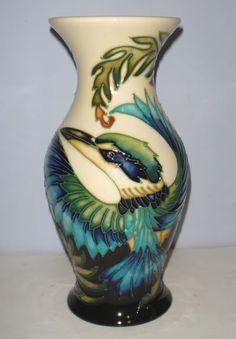 Moorcroft Pottery - Kotare New Zealand Kingfisher by Philip Gibson