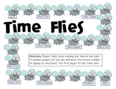 Time Flies board game for telling time to the minute (free)