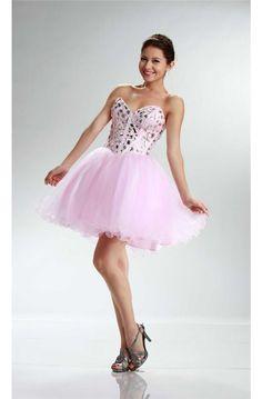 Ball Strapless Short Light Pink Tulle Beaded Cocktail Prom Dress
