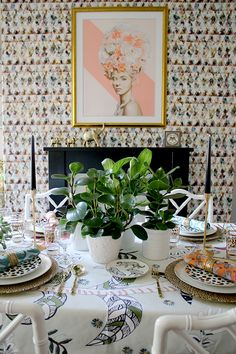 Colourful table setting with plants and animal prints @pattonmelo