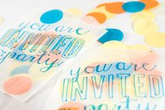 Party Trend :: Confetti - confetti filled favor bag invites