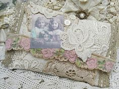 Doily purse with vintage photo...use grammas doilies and add a picture of her!