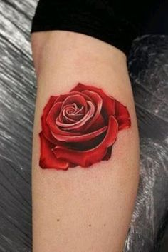 Cute Red Rose Tattoo Patterns for Leg