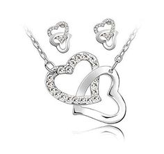 From 0.60:Swarovski Elements Set Two Necklace And Earrings White Crystal Intertwined Hearts
