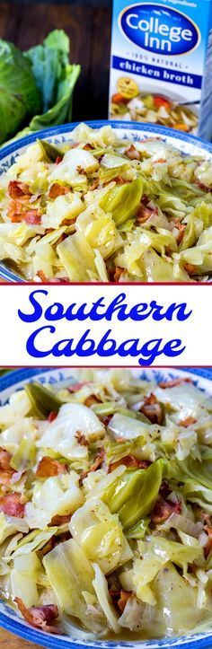 Southern Cabbage cooked in chicken broth flavored with onion and bacon. #ad #CollegeInnBroth