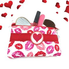 Kiss Me Lips Makeup Bag Red Pink Fabric Zip by SEWsationalStitches