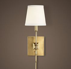 RH's Library Sconce:Quiet lines make up the illuminating Library Sconce. Wall Lights, Sconces, Bookcase Lighting, Bath Furniture, Light Fixtures, Brass Lighting, Brass Bathroom Sconce, Wall Sconce Lighting, Living Room Lighting