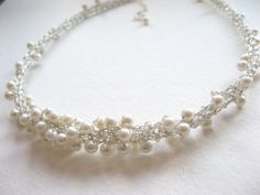 crocheted wire pearl necklace
