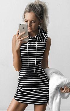Hooded Pocket Mini Dress