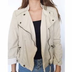 Zara basic crop cream zip up  jacket Size small true to size crop style Zara Jackets & Coats