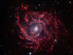 Looking like a spider's web swirled into a spiral, Galaxy IC 342 presents its delicate pattern of dust in this image from NASA's Spitzer Space Telescope. Seen in infrared light, faint starlight gives way to the glowing bright patterns of dust found throughout the galaxy's disk.    At a distance of about 10 million light-years, IC 342 is relatively close by galactic standards, however our vantage point places it directly behind the disk of our own Milky Way.