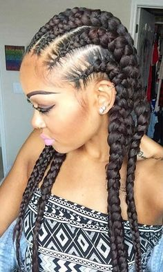 Stylish Cornrows Hairstyles 2018 Ways to Rock, Why not create a feature of these mediate sections by adding some smaller, dilutant featured braids to assist bring the complete look together? Big Cornrows Hairstyles, Two Cornrow Braids, Inverted Bob Hairstyles, Down Hairstyles, Girl Hairstyles, Box Braids, Hairstyles 2018, Black Hairstyles, Cornrows Ponytail
