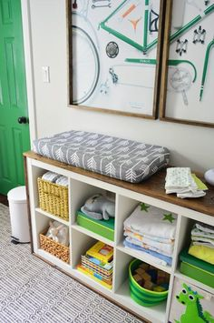 YHL: Love this ikea bookcase with woodtrim. Especially as a changing table/kids furniture (baby shelves changing pad) Ikea Bookcase, Bookcase Storage, Bookcase Redo, Ikea Shelves, Shelving Units, Cubby Storage, Kids Storage, Storage Ideas, Storage Cubes