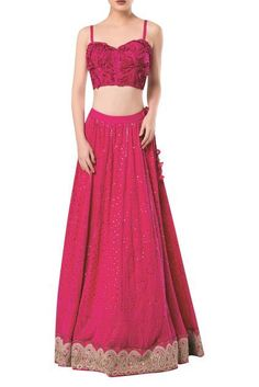 c50ac73c7e43e9 Buy Spaghetti sleeves blouse with lucknowi embroidered lehenga by Rocky  Star at Aza Fashions