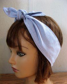 Bandana HeadBand, PinUp Hair, Ladies Hairband, Blue, Hair Band,Fabric Hair Band, Boho Bandana, RockaBilly  #252 by StitchesByAlida on Etsy