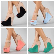Bamboo Colorblock Platform Wedge Heels. Id wear the black ones with everything!