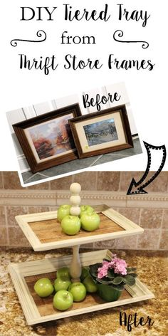 DIY Tiered Tray from frames- What Treasures Await http://whattreasuresawait.com/another-girls-treasure-april/