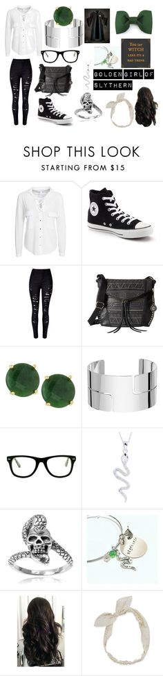 """Golden Girl of Slythern"" by emo-flower ❤ liked on Polyvore featuring NLY Trend, Converse, WithChic, The Sak, Panacea, Dinh Van, Muse, Tressa and Carole"