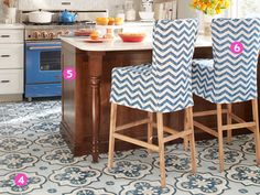 """Go bold. Baylor selected these cement tiles first and let them dictate the room. """"This floor is the highlight of my day,"""" she says.(Tile, from $18.72 per square foot; Villa Lagoon Tile, 251-968-3375"""
