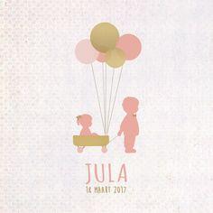 Geboortekaartje Jula - voorkant - Pimpelpluis - https://www.facebook.com/pages/Pimpelpluis/188675421305550?ref=hl (# meisje - broertje - zusje - ballon - ballonnen - goud - roze - silhouet - origineel)