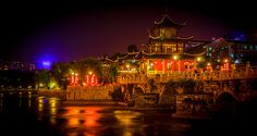 Night view of Jiaxiu Pavilion Guiyang, Trending Photos, Night Shot, The Province, Stunning View, Pavilion, Big Ben, Scenery, Urban