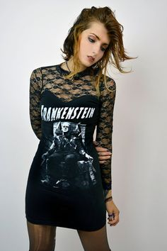 Custom made FRANKENSTEIN lace dress! Professionally sewn. Altered from a black mens t-shirt. Long black lace sleeves. High neck features hook in