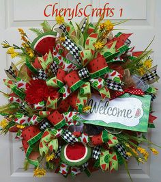 Watermelon Wreath, Welcome Wreath, Spring Wreath, Summer Wreath, Patio Wreath, Deck Wreath, Front Door Wreath  Sweet Juicy Watermelon Well, I have to admit, after making this Beauty, I had to go buy a Fresh Sweet Juicy Watermelon, iced it down, then I ate at least half of it!!! Lol (Also, I remembered to spit the Seeds out!!! Lol!!!) Then I sat under my shade trees, full, happy, took a nap, all with a smile on my face!!! Whoa, does this ever bring back child hood memories!!!  Grab this one…