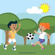 Niño y niña jugando fútbol.