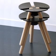 The gestalt law of connectness Wood Furniture, Modern Furniture, Furniture Design, Stackable Stools, Design Industrial, Wood Stool, Furniture Inspiration, Chair Design, Home Accessories