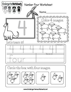 Easily print our number four worksheet right in your browser. It is a free kindergarten math worksheet. Number Worksheets Kindergarten, Numbers Preschool, Learning Numbers, Free Preschool, Preschool Lessons, Preschool Printables, Preschool Kindergarten, Flashcards For Kids, Worksheets For Kids