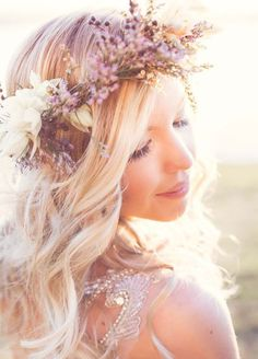 Gorgeous wavy wedding hairstyle with elegant purple and white flower crown; Featured Photographer: Kelsea K Photography