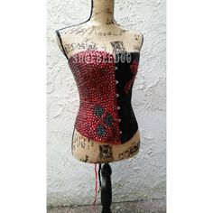 Harley Quinn Corset ($225) ❤ liked on Polyvore featuring intimates, corsets, black, lingerie, women's clothing, black corset, lingerie corset, black rhinestone corset, black corset lingerie and rhinestone corset