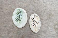Ceramic cabochon, ceramic pendant, porcelain tesserae, ceramic leaf, leaf cabochon by BlackRabbitCeramics on Etsy Ceramic Pendant, Porcelain, Pendants, Ceramics, Beads, Etsy, Hall Pottery, O Beads, Pottery