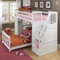 Love the bunks with stairs that also double as storage........and love the desk off to the left that's also attached!