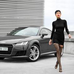 fishnet boots with knitted dress