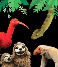 A scene from 'Rainforest Adventures' shows some of the animals native to the Amazon River in Brazil.
