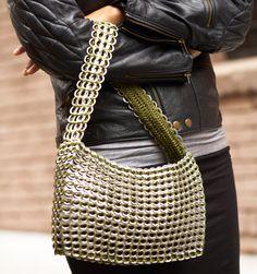 Recycled Pop Top shoulder bag: Socorro from Escama Studio by escamastudio, via… Soda Tab Crafts, Can Tab Crafts, Pop Can Tabs, 10 Year Anniversary Gift, Recycling, Soda Tabs, Pop Cans, Hand Crochet, Crochet Bags
