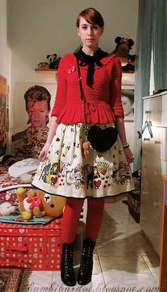 H Red Thights, George Victorian Ankle Boots, Black & White Pearl Bracelets, H Neck Bow Blouse, H Red Knitted Sweater, Bow Brooch, Emily Temple Cute Alice Print Skirt, H Heart Shaped Bag, Rilakkuma!