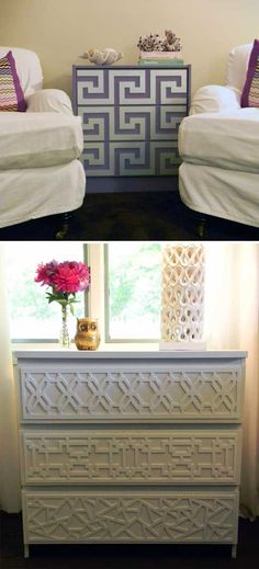 DIY - O'verlays are lightweight, decorative fretwork panels that come in several patterns and sizes. They are paintable and easily attach to furniture, mirrors, walls and glass. Compatible with popular IKEA pieces such as MALM, RAST, PAX, EXPEDIT, EFFEKTIV and LACK; they instantly upgrade plain pieces. Perfect for your next D.I.Y. project.