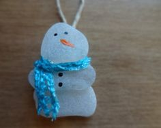 Beach Glass Snowman Ornament 2""