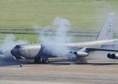 A B-52H Stratofortress starts its engines during a Minimum Interval Take Off on Barksdale AFB, La, Aug 14 2014.